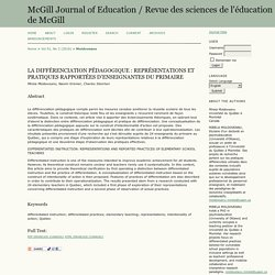 LA DIFFÉRENCIATION PÉDAGOGIQUE : REPRÉSENTATIONS ET PRATIQUES RAPPORTÉES D'ENSEIGNANTES DU PRIMAIRE