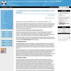 La différenciation en mathématiques au secondaire, est-ce possible ? - Association francophone pour l'enseignement des mathématiques en Ontario (AFEMO)