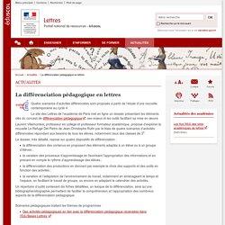 La différenciation pédagogique en lettres-Lettres-Éduscol