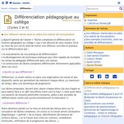 Différenciation pédagogique au collège - Odyssée : Histoire Géographie EMC