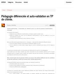 Pédagogie différenciée et auto-validation en TP de chimie.