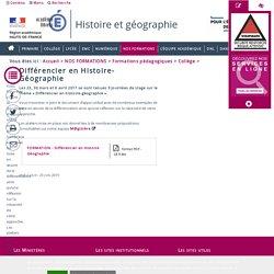 FORMATION -Différencier en Histoire-Géographie