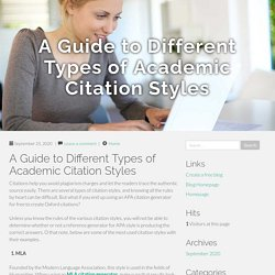 A Guide to Different Types of Academic Citation Styles