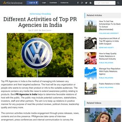 Different Activities of Top PR Agencies in India
