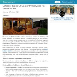 Different Types Of Carpentry Services For Homeowners by Central Coast Elite Carpentry
