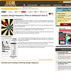 Graphic Design Resumes: Plain or Different? Part II » Graphic Design Schools & Colleges