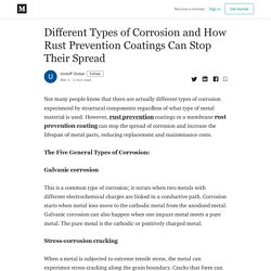 Different Types of Corrosion and How Rust Prevention Coatings Can Stop Their Spread