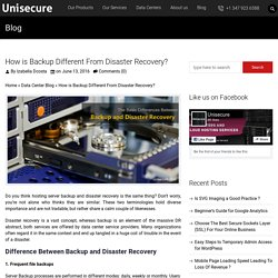 How is Backup Different From Disaster Recovery? - UniSecure Datacenters Blog