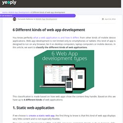 6 Different kinds of web app development