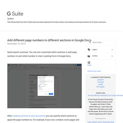 Add different page numbers to different sections in Google Docs
