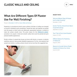 What Are Different Types Of Plaster Use For Wall Finishing?