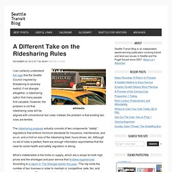A Different Take on the Ridesharing Rules