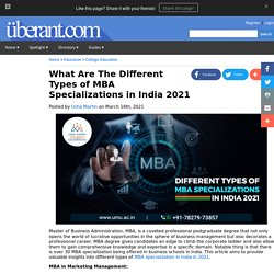 What Are The Different Types of MBA Specializations in India 2021