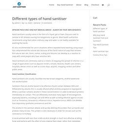 Different types of hand sanitiser - Just Sanitiser