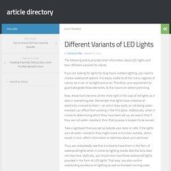 Different Variants of LED Lights