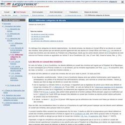 1.3.3. Différentes catégories de décrets / 1.3. Hiérarchie des normes / I. Conception des textes / Guide de legistique / Droit français / Accueil