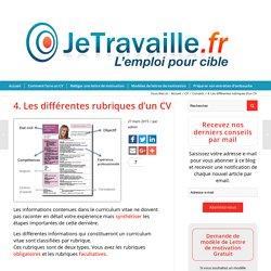 4. Les différentes rubriques d'un CV - JeTravaille.fr