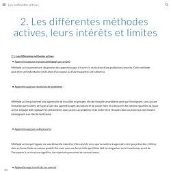 2. Les différentes méthodes actives, leurs intérêts et limites - Les méthodes actives
