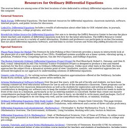 Ordinary Differential Equations - Resources