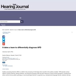 It takes a team to differentially diagnose APD : The Hearing Journal