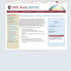 WIDE World - Program Overview - Our Courses - Differentiating Instruction