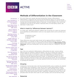 Methods of Differentiation in the Classroom