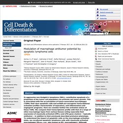 Cell Death and Differentiation - Modulation of macrophage antitumor potential by apoptotic lymphoma cells