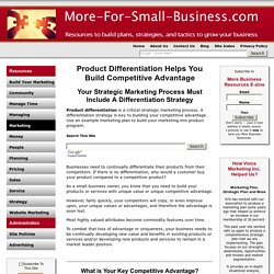Product Differentiation and the Strategic Marketing Process