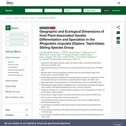 INSECTS 20/08/19 Geographic and Ecological Dimensions of Host Plant-Associated Genetic Differentiation and Speciation in the Rhagoletis cingulata (Diptera: Tephritidae) Sibling Species Group