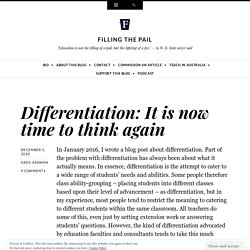 Differentiation: It is now time to think again