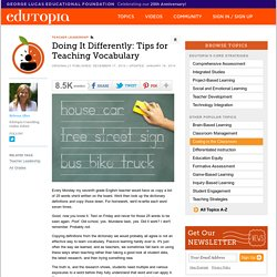 Doing It Differently: Tips for Teaching Vocabulary