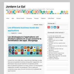 Les différents business model des applications - Jordann Le Gal