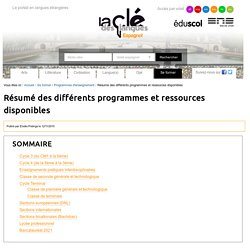 Résumé des différents programmes et ressources disponibles