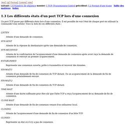 1.3 Les diffèrents états d'un port TCP lors d'une connexion