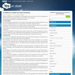» Les différents modèles du Cloud Computing