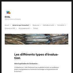Les différents types d'évaluation – EVAL