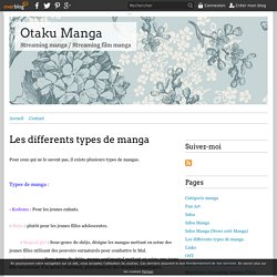 Les differents types de manga - Otaku Manga