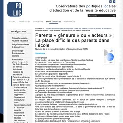 Parents « gêneurs » ou « acteurs » : La place difficile des parents dans l'école — Observatoire de la Réussite Educative