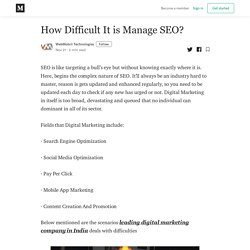 How Difficult It is Manage SEO?