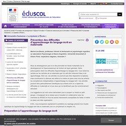Université d'automne « La dyslexie à l'École » - Prévention des difficultés d'apprentissage du langage écrit en maternelle
