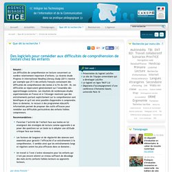 L'Agence nationale des Usages des TICE - Des logiciels pour remédier aux difficultés de compréhension de textes chez les enfants