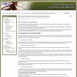 Difficultés financières d'une association (dépôt de bilan)