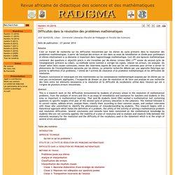 Difficultés dans la résolution des problèmes mathématiques - RADISMA