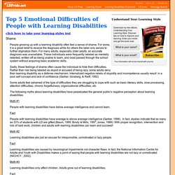 Top Five Emotional Difficulties of Adults with Learning Disabilities