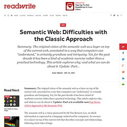 Semantic Web: Difficulties with the Classic Approach