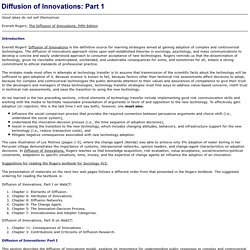 Diffusion of Innovations I