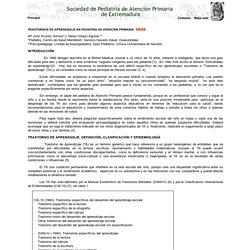 Dificultades en el aprendizaje: prevención, detección precoz e intervención. Web de la SPAPex