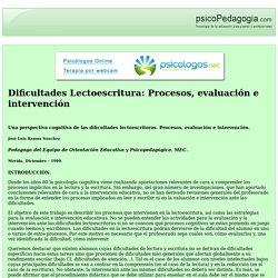 Dificultades Lectoescritura: Procesos, evaluación e intervención