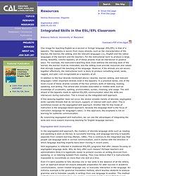 Integrated Skills in the ESL/EFL Classroom