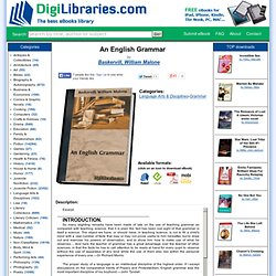 "eBook: ""An English Grammar"" by Baskervill, William Malone"